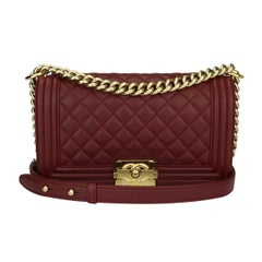 CHANEL Old Medium Boy Bag Burgundy Lambskin with Shiny Gold Hardware 2015