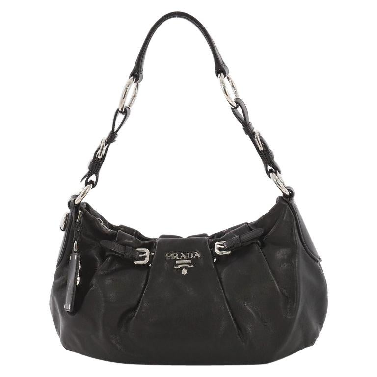 5c9145a28e92 Prada Buckle Pleated Shoulder Bag Soft Calfskin Medium For Sale at 1stdibs