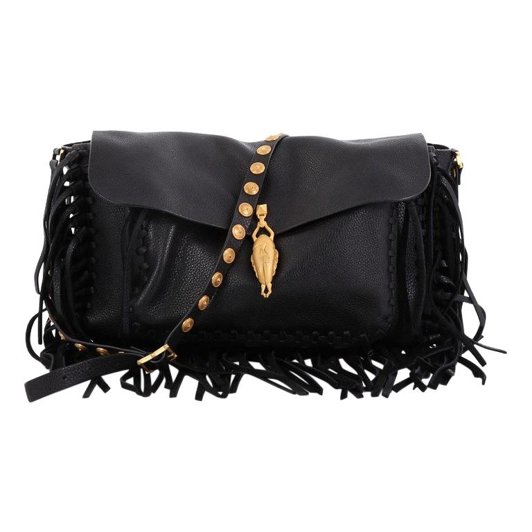 03d3ab1703e Valentino C-Rockee Scarab Fringe Shoulder Bag Leather Medium For Sale