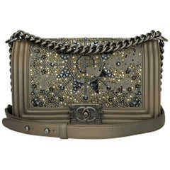 Chanel Old Medium Crystal Boy Bag Metallic Bronze Goatskin Ruthenium Hardware