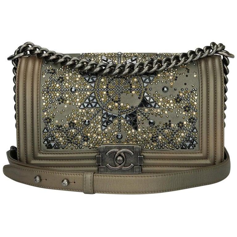 96deb0343d57c7 Chanel Old Medium Crystal Boy Bag Metallic Bronze Goatskin Ruthenium  Hardware For Sale. Authentic ...