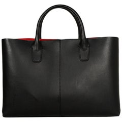 Mansur Gavriel Black/Flamma Red Leather Mini Folded Bag W/ Strap