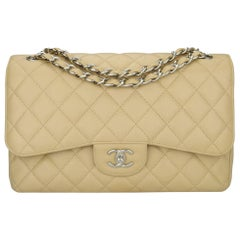 CHANEL Double Flap Jumbo Bag Beige Clair Caviar with Silver Hardware 2013