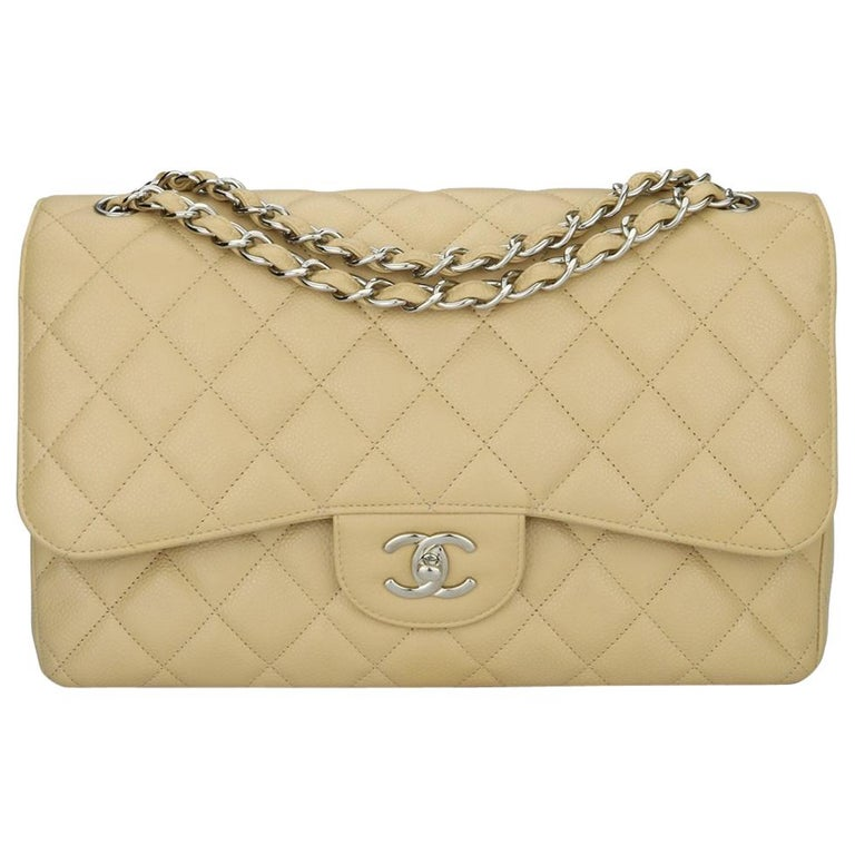 CHANEL Double Flap Jumbo Bag Beige Clair Caviar with Silver Hardware 2013 For Sale