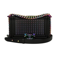Chanel Small LED Boy Bag Black Lambskin with Rainbow Hardware 2017