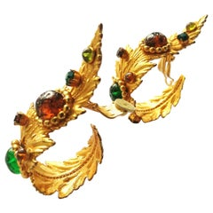 Outstanding gilt metal and jewelled 'leaf' earrings,Dominique Aurientis, 1980s