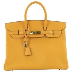 Hermes Birkin Handbag Jaune Courchevel with Gold Hardware 35,