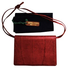 Bottega Veneta Red Lizard Adjustable Shoulder Strap