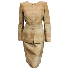Oscar de la Renta Gold Tone Jacquard Skirt Suit