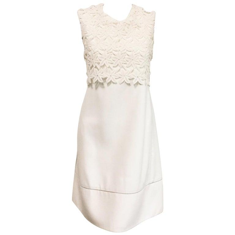 71613147b6 Classic Chloe Floral Lace Sleeveless White Cotton Dress