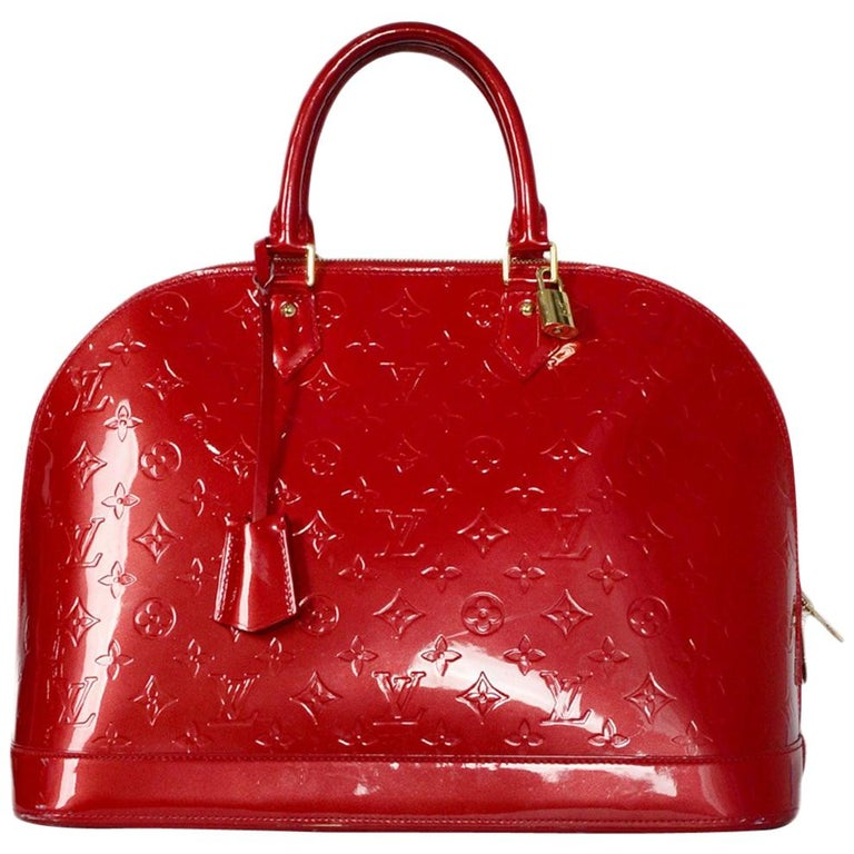 85831f604a5e Louis Vuitton Pomme d Amour Red Monogram Vernis Alma GM Bag at 1stdibs