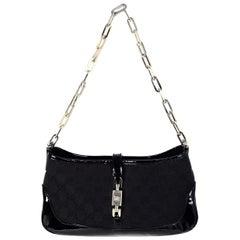 Gucci Black Monogram Canvas Jackie-O Pochette Bag W/ Patent Leather Trim