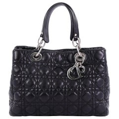Christian Dior Soft Shopping Tote Cannage Quilt Lambskin Small