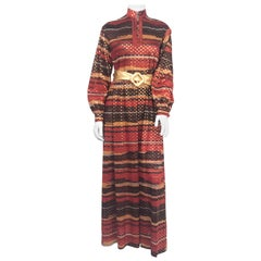 1970s Autumn Printed Dress with Lurex Dots