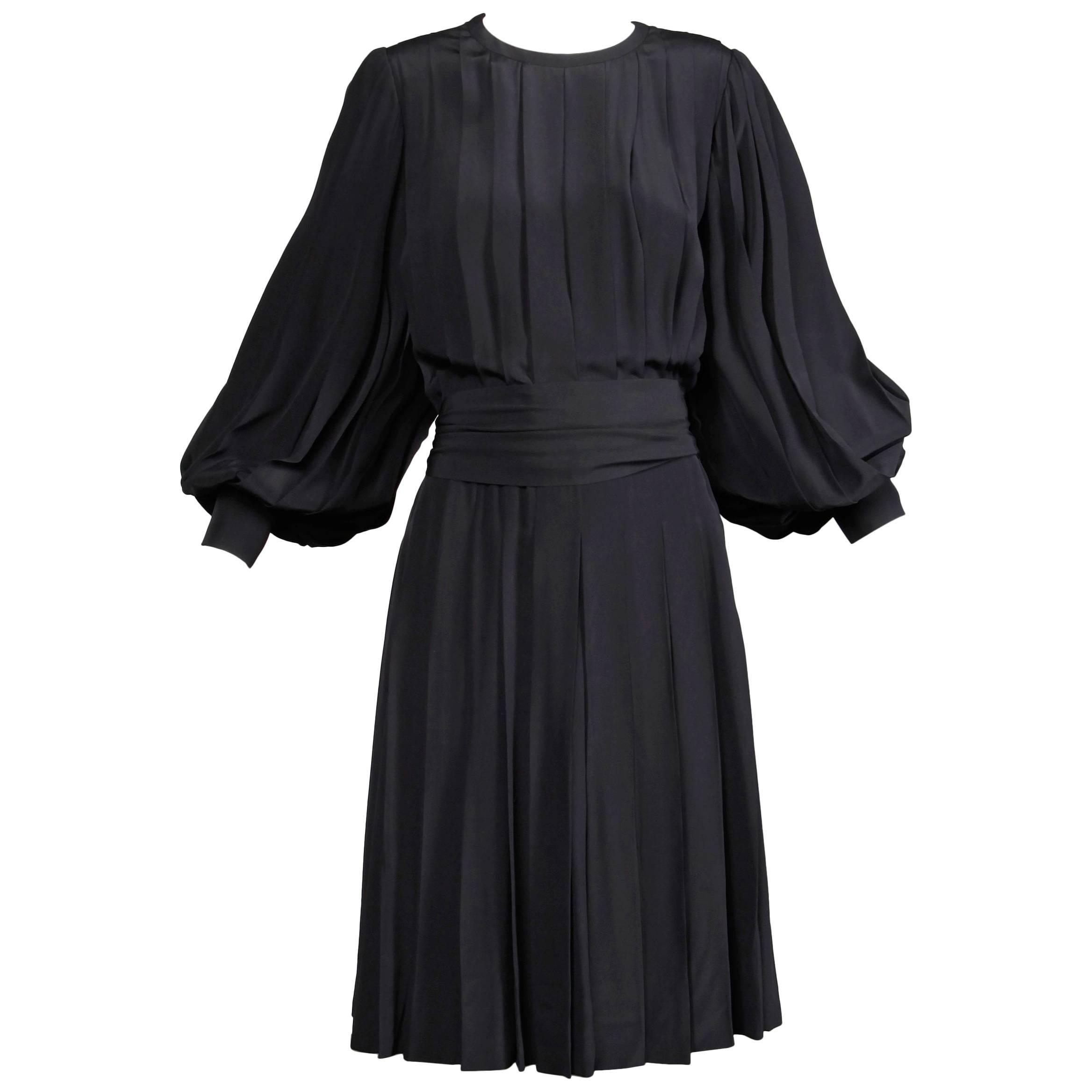 1980s Andre Laug Vintage Black Silk Dress with Matching Sash Belt