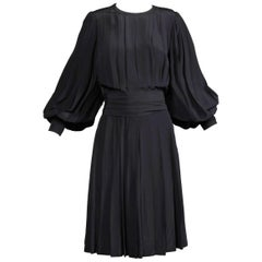 1980s Andre Laug Vintage Black Silk Dress with Matching Sash Belt