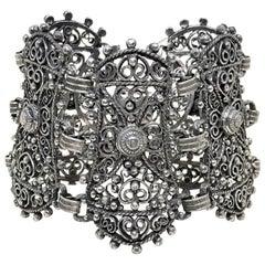 Circa 1940s Jeray Estruscan-Revival Silvertone Large LInk Bracelet