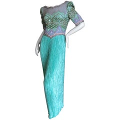 Mary McFadden Couture for Martha 1970's Extravagantly Embellished Evening Dress
