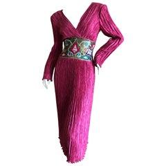 Mary McFadden for Bergdorf Goodman Embellished Low Cut Evening Dress