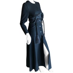 Chado Ralph Rucci Luxurious Long Black Coat with Obi Belt and Tassel Tie XS