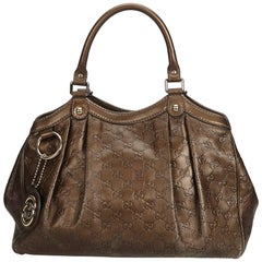 Gucci Brown Bronze Leather Guccissima Sukey Italy