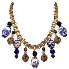Blue and White Porcelain Chinese Bead and Brass Bookchain Necklace