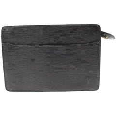 Louis Vuitton Pochette Noir Epi Homme 865790 Black Leather Clutch