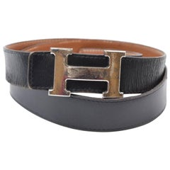 86c3d438b29 Hermès Black X Brown Reversible 32mm H Logo Kit 865856 Belt