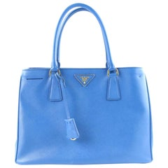 Prada Lux Saffiano 2way 2pr1205 Blue Patent Leather Tote