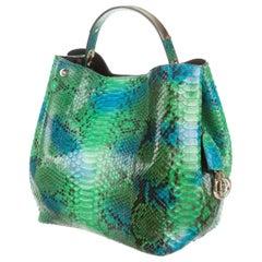 Dior Diorific Hobo 2way 3dr1205 Green Python Skin Leather Shoulder Bag
