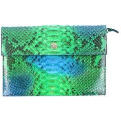 Dior Diorific Clutch 4dr1205 Green Python Skin Leather Wristlet
