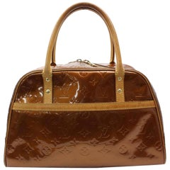 Louis Vuitton Vernis Spuare Vernis 865710 Bronze Patent Leather Satchel