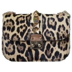 Valentino Glam Lock Small Calf-Hair Leopard-Print Shoulder Bag