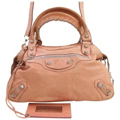 aa6d4c2358 Balenciaga Giant The Town 2way 866865 Pink Leather Shoulder Bag