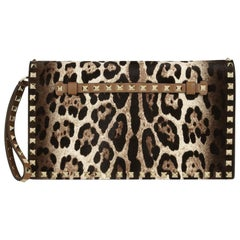 Valentino The Rockstud Calf-Hair and Leather Clutch