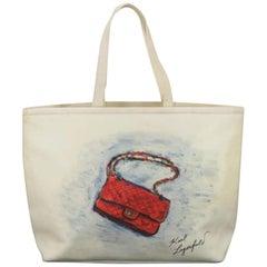 Chanel Mobile Art 866745 White Canvas Tote