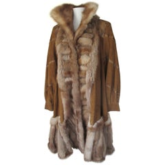 Sable Fur Swing Coat with brown soft leather