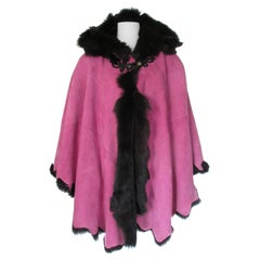 Pink Hooded Soft Suede Tuscany Lamb Shearling Fur Cape