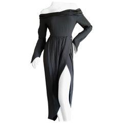 Romeo Gigli Vintage Off the Shoulder Dress with High Slit