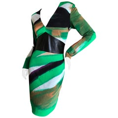 """Gianni Versace Couture Vintage Eighties Cocktail Dress w Leather """"Belt"""""""