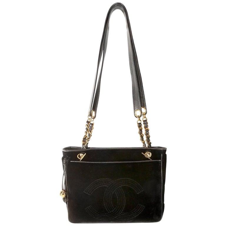 Chanel Black Velvet CC Vintage Tote For Sale