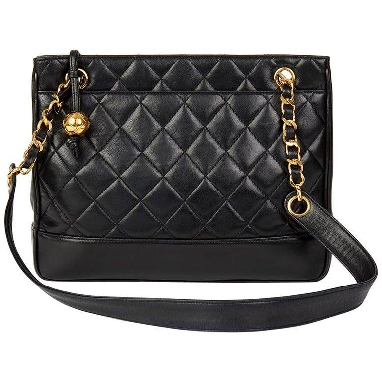 1bb7c285b26f39 1992 Chanel Black Quilted Lambskin Vintage Timeless Shoulder Bag For Sale