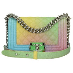 CHANEL Small Boy Bag Rainbow Cuba Caviar with Shiny Silver Hardware 2017