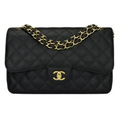 CHANEL Classic Jumbo Double Flap Bag Black Caviar with Gold Hardware 2012