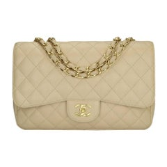 CHANEL Classic Single Flap Jumbo Bag Beige Clair Caviar with Gold Hardware 2009
