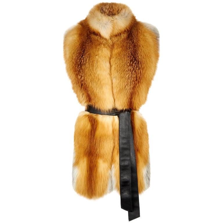 Verheyen London Nehru Collar Stole in Natural Red Fox Fur - Brand New For Sale