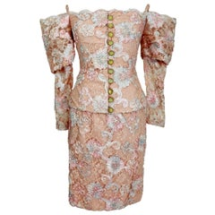 1970s Lanvin Pink Floral Lace Embroidered Formal Dress Set Skirt Jacket