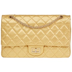 2007 Chanel Gold Quilted Aged Metallic Calfskin 2.55 Reissue 227 Double Flap Bag