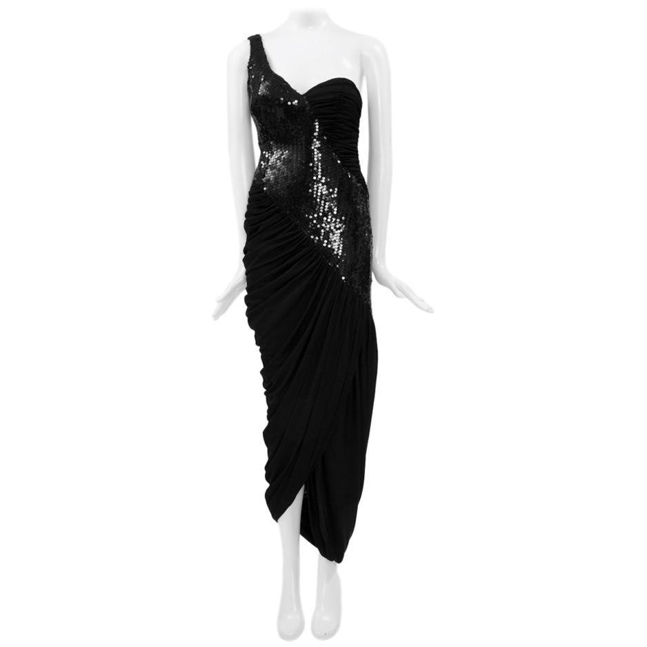 Loris Azzaro Sequined One-Shoulder Evening Dress