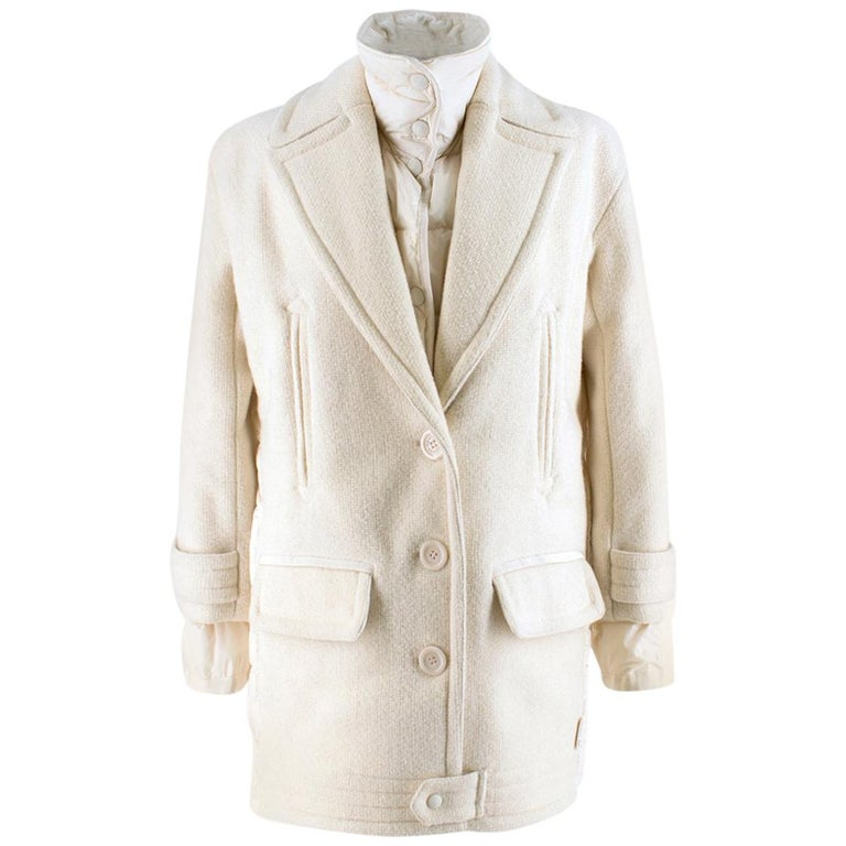 a088e5e68 Moncler White Double Layer Down and Wool Coat 1